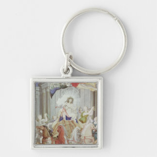 Triumph of King Louis XIV  of France Silver-Colored Square Key Ring