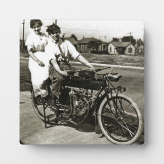 Triumph of Love Dating on a Motorcycle Vintage Plaque