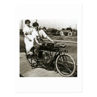 Triumph of Love Dating on a Motorcycle Vintage Postcard