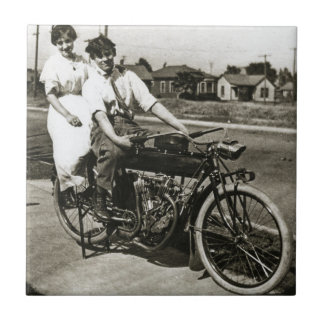 Triumph of Love Dating on a Motorcycle Vintage Tile