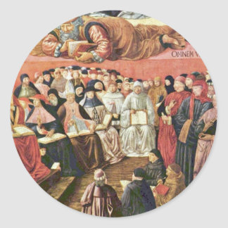 Triumph Of St Thomas Aquinas On Averroes Detail Round Sticker