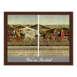 """Triumph Of The Duke And Duchess Federico Da Montef 4.25"""" X 5.5"""" Invitation Card"""