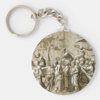 Triumph of Wealth by Hans Holbein the Younger Basic Round Button Key Ring