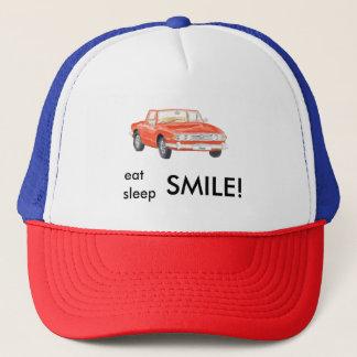 Triumph Stag 'eat sleep smile' baseball cap, red Trucker Hat