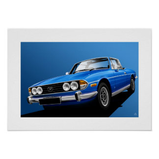 Triumph Stag Poster illustration Tahiti Blue
