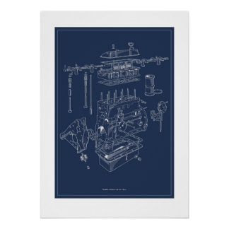Triumph TR4A Engine Schematic Poster - Blueprint