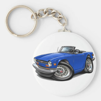 Triumph TR6 Blue Car Basic Round Button Key Ring