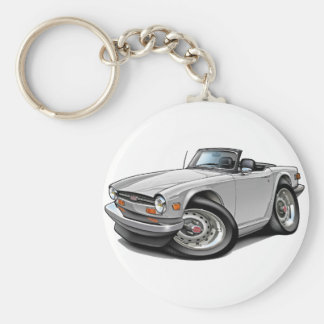 Triumph TR6 White Car Basic Round Button Key Ring