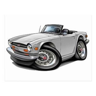 Triumph TR6 White Car Postcard