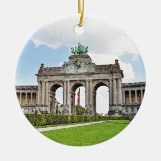 Triumphal Arch in Cinquantenaire Park in Brussels Round Ceramic Decoration