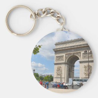 Triumphal Arch on Champs Elysees boulevard in Pari Basic Round Button Key Ring