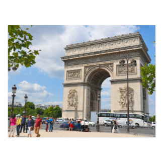 Triumphal Arch on Champs Elysees boulevard in Pari Postcard