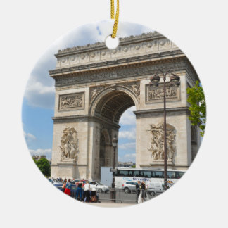 Triumphal Arch on Champs Elysees boulevard in Pari Round Ceramic Decoration