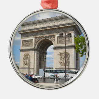 Triumphal Arch on Champs Elysees boulevard in Pari Silver-Colored Round Decoration
