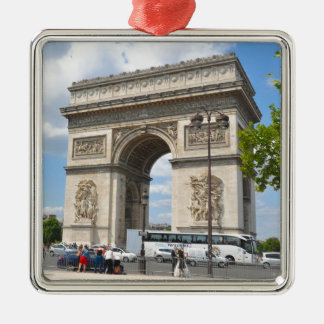 Triumphal Arch on Champs Elysees boulevard in Pari Silver-Colored Square Decoration