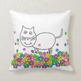Trixie the Cat with flowers pillow
