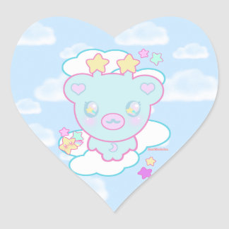 Trixie the Space Alien Bear Heart Sticker