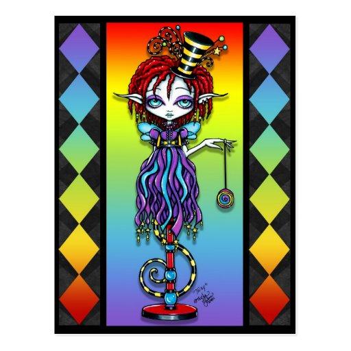 Trixy Pixie Stick Rainbow Circus Freak Postcard