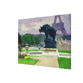 Trocadero Gardens and Rhinoceros by Jacquemart Stretched Canvas Print
