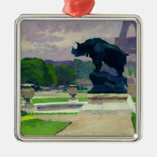 Trocadero Gardens and Rhinoceros by Jacquemart Christmas Ornament