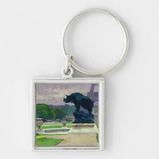 Trocadero Gardens and Rhinoceros by Jacquemart Silver-Colored Square Key Ring
