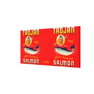 Trojan Brand Salmon Label- Red Canvas Print