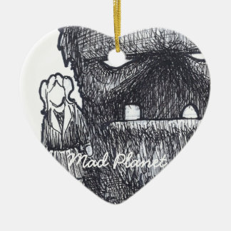 Troll and Companion drawing Ceramic Heart Decoration