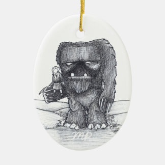 Troll and Companion drawing Ceramic Oval Decoration