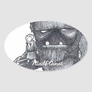 Troll and Companion drawing Oval Sticker