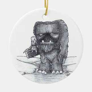 Troll and Companion drawing Round Ceramic Decoration