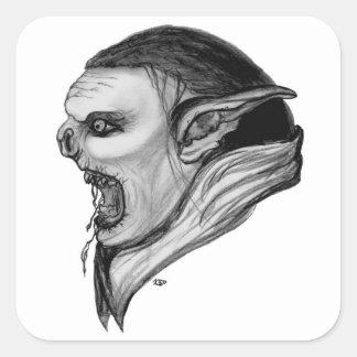 Troll black and white Design Square Sticker