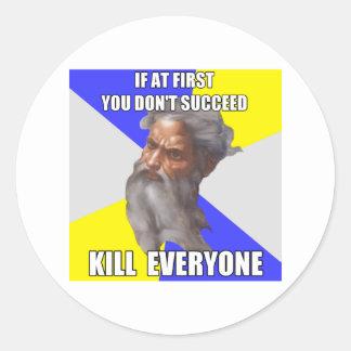 Troll God Kills Round Sticker