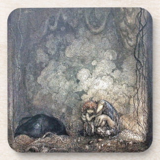 Troll Holding Child Beverage Coaster