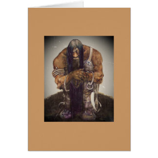 Troll in Chains with Fork and Spoon Greeting Card
