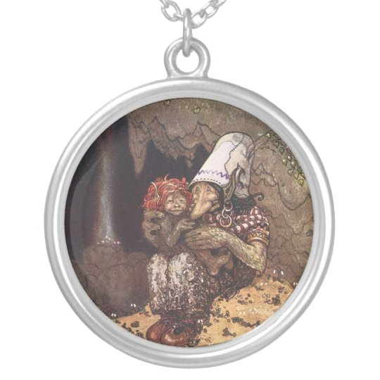 Troll Mother and Baby Silver Plated Necklace