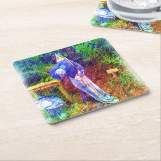 Troll with head under arm square paper coaster