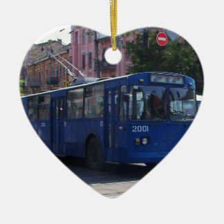 Trolley Bus Ceramic Heart Decoration