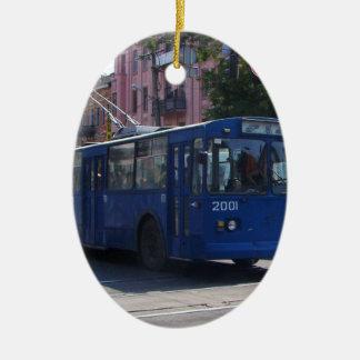Trolley Bus Ceramic Oval Decoration