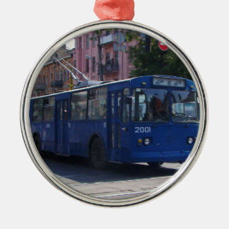 Trolley Bus Silver-Colored Round Decoration