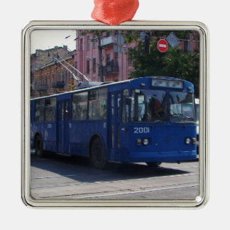 Trolley Bus Silver-Colored Square Decoration