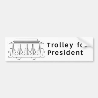 Trolley for President White Bumper Sticker