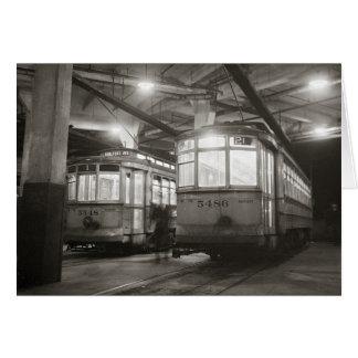 Trolleys at the Terminal, 1943 Greeting Card