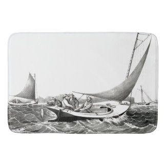 Trolling Blue Fin Fishing Sailboat Ocean Bath Mat