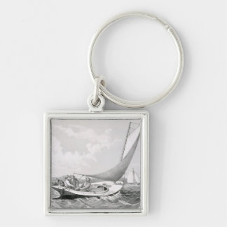Trolling for Blue Fish Silver-Colored Square Key Ring