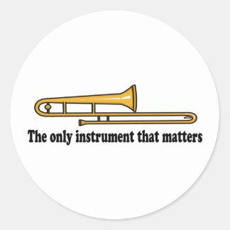 Trombone Attitude Classic Round Sticker