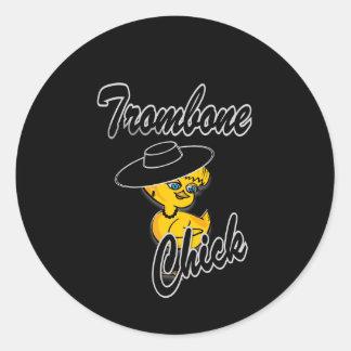 Trombone Chick #4 Classic Round Sticker