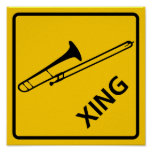 Trombone Crossing Highway Sign