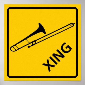 Trombone Crossing Highway Sign Posters