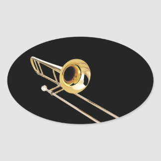 """Trombone"" design gifts and products Oval Sticker"