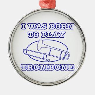 trombone Designs Silver-Colored Round Decoration